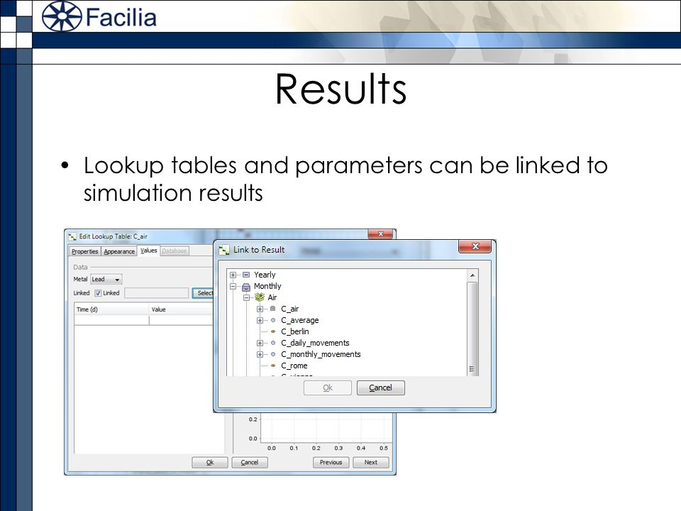 Results Lookup tables and parameters can be linked to simulation results