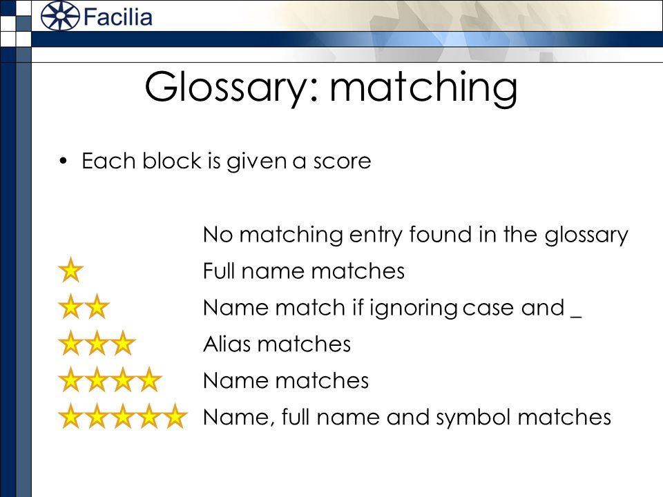 Glossary: matching Each block is given a score