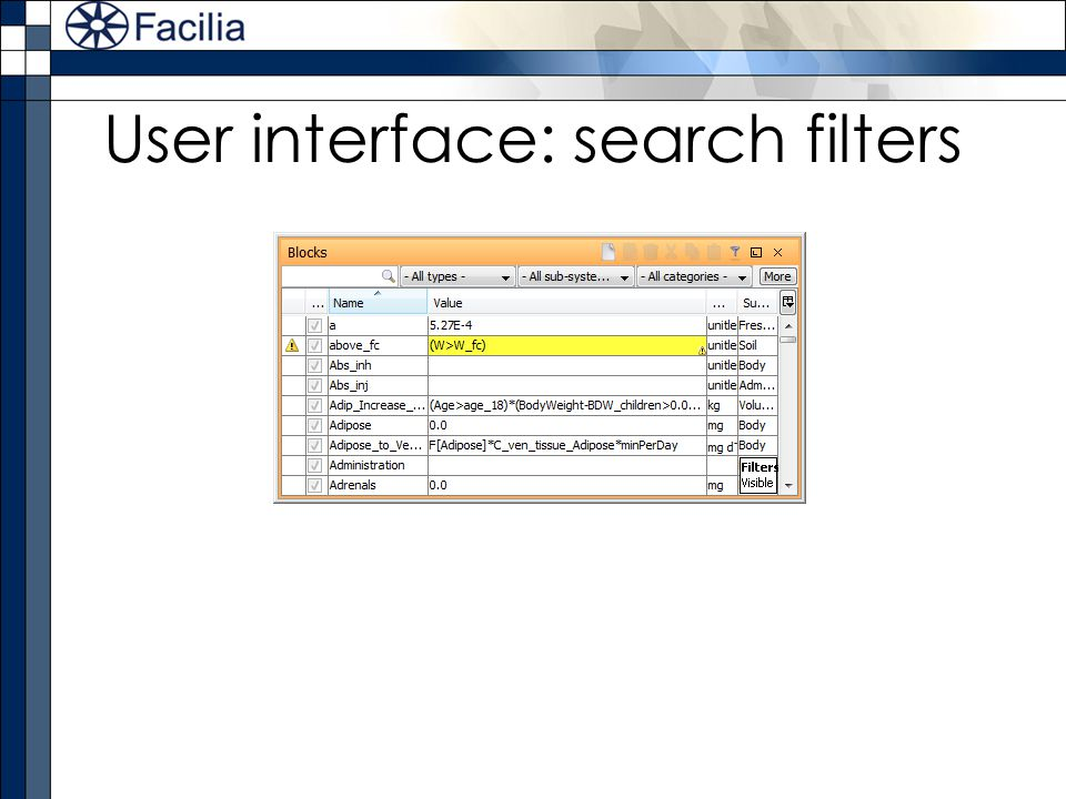 User interface: search filters