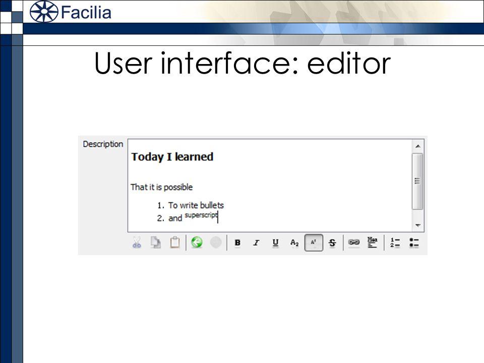 User interface: editor