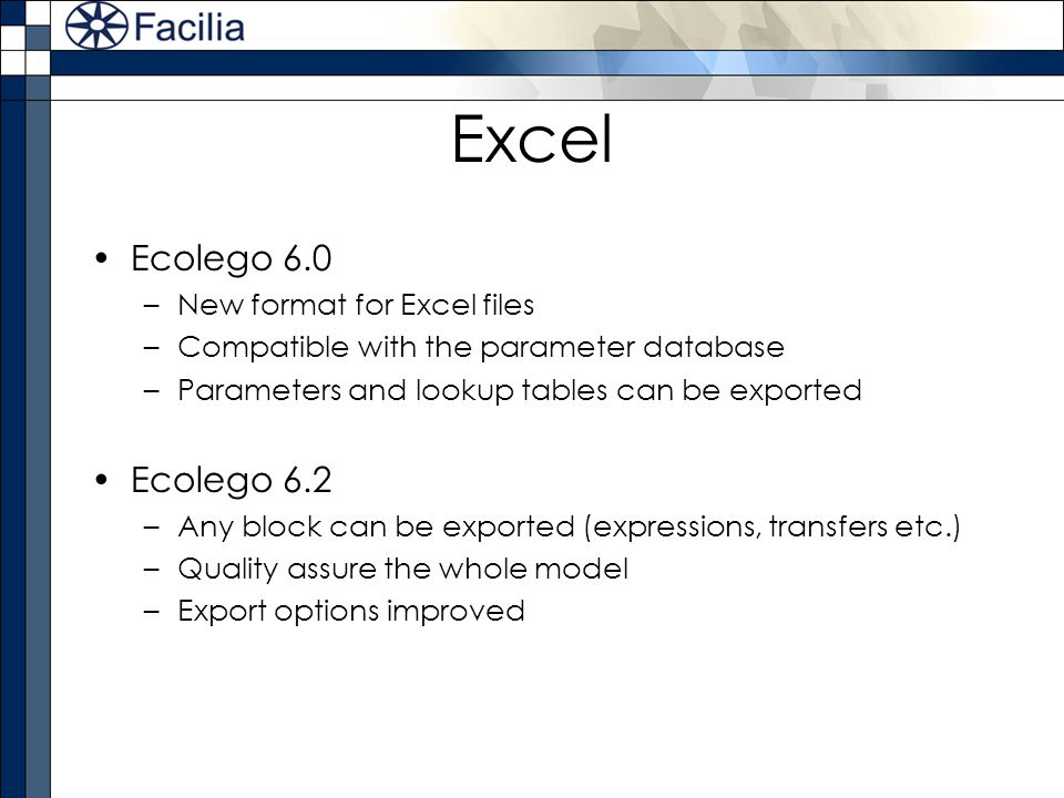 Excel Ecolego 6.0 Ecolego 6.2 New format for Excel files