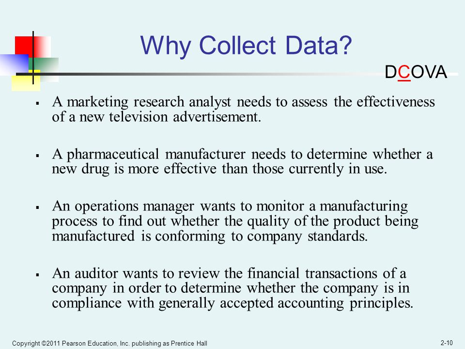 Why Collect Data DCOVA. A marketing research analyst needs to assess the effectiveness of a new television advertisement.