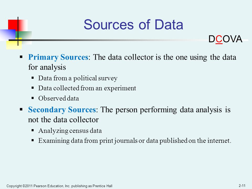 Sources of Data DCOVA. Primary Sources: The data collector is the one using the data for analysis.