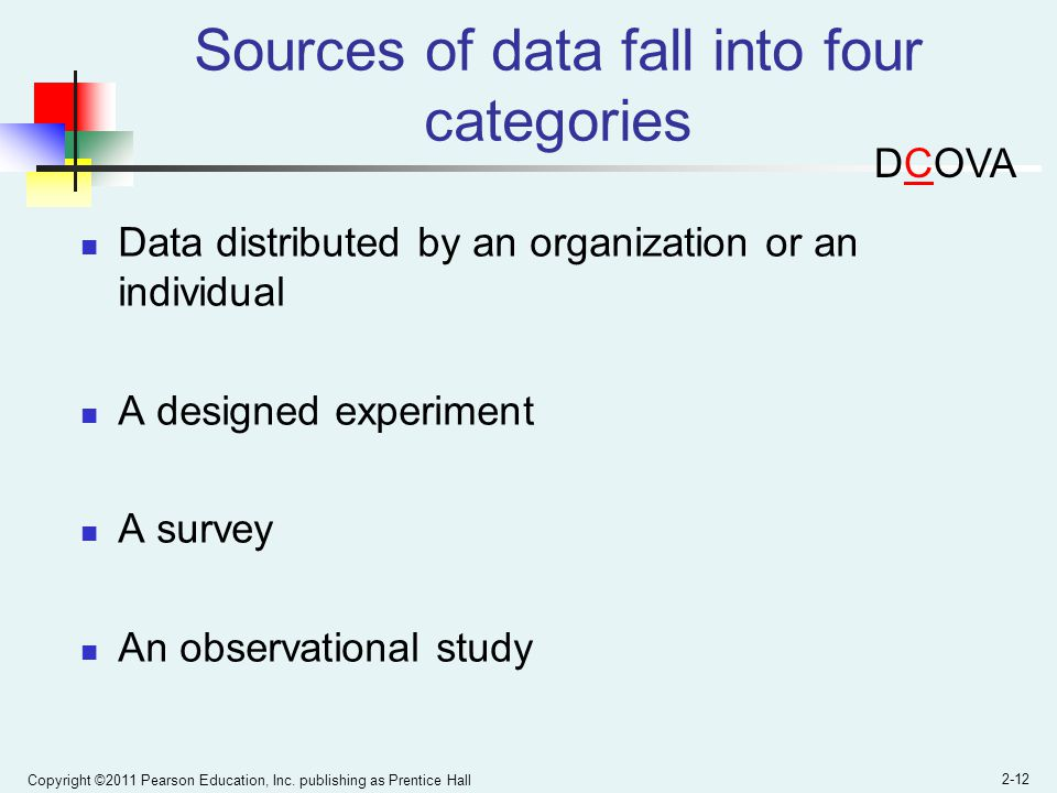 Sources of data fall into four categories
