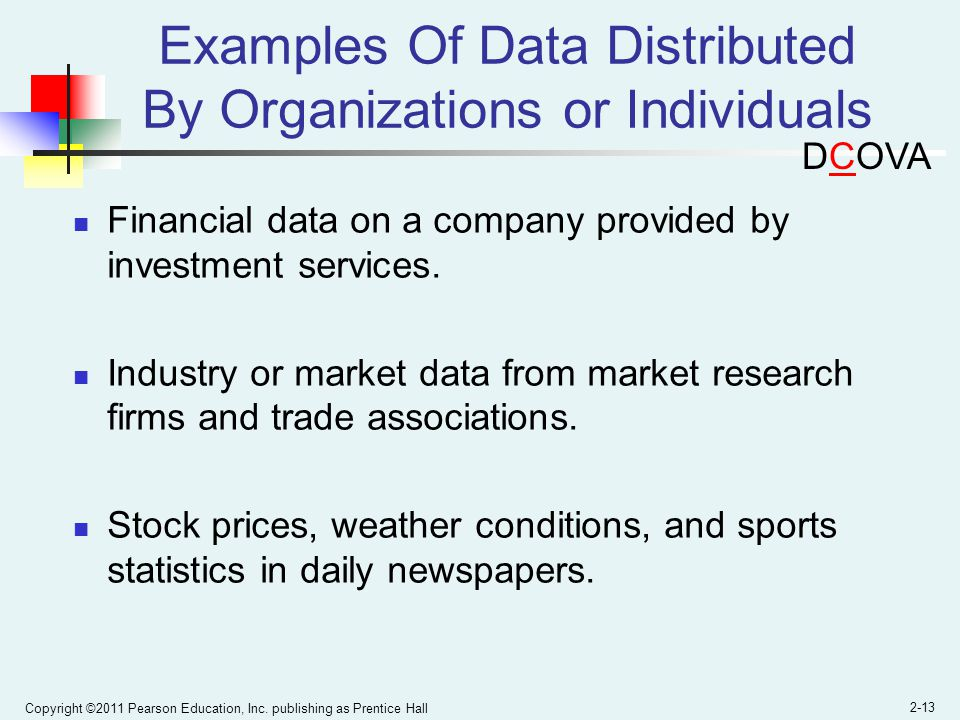 Examples Of Data Distributed By Organizations or Individuals