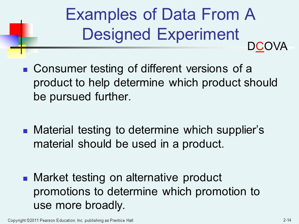 Examples of Data From A Designed Experiment