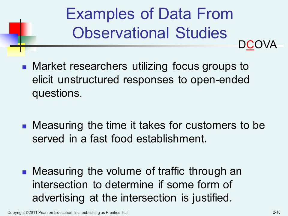Examples of Data From Observational Studies