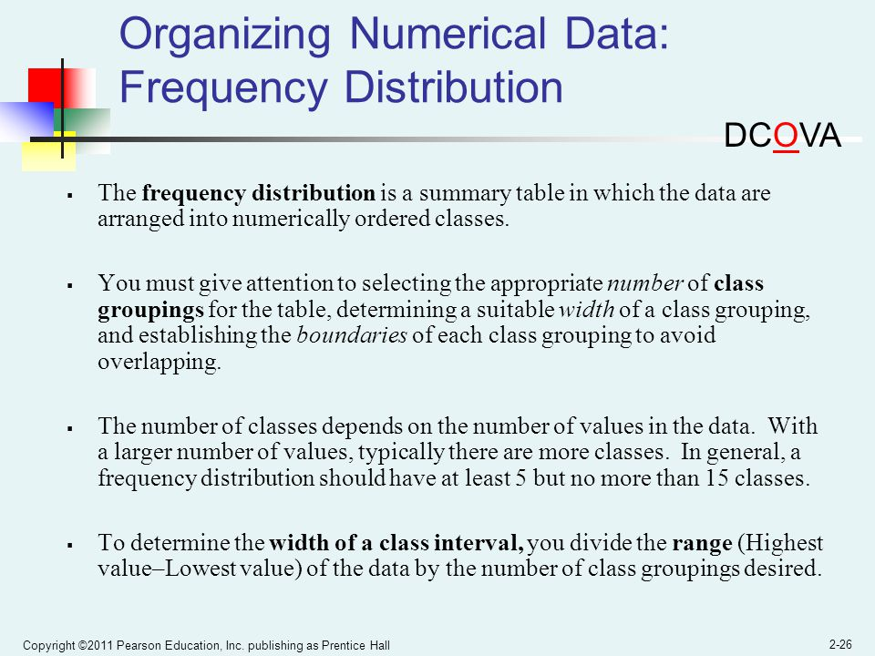 Organizing Numerical Data: Frequency Distribution