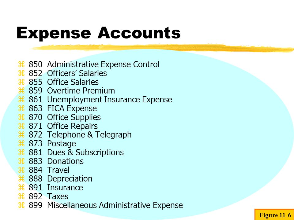 Expense Accounts 850 Administrative Expense Control