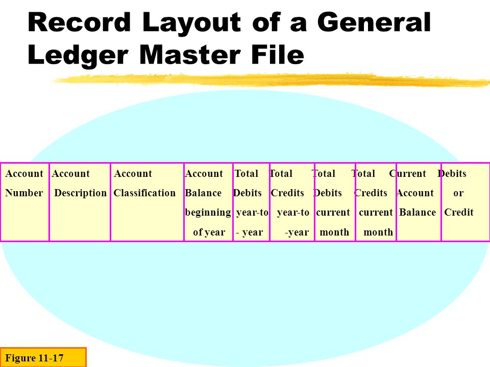 Record Layout of a General Ledger Master File