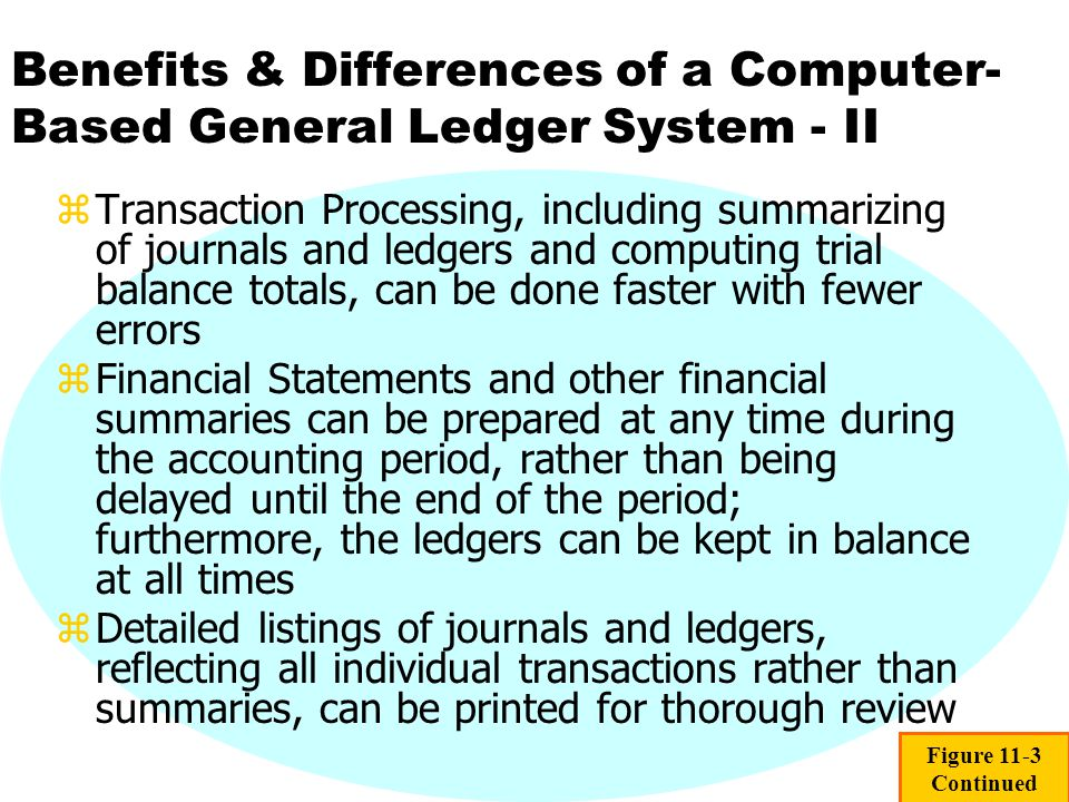 Benefits & Differences of a Computer-Based General Ledger System - II