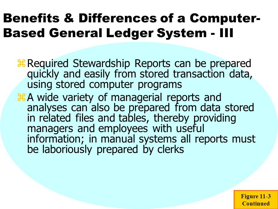 Benefits & Differences of a Computer-Based General Ledger System - III