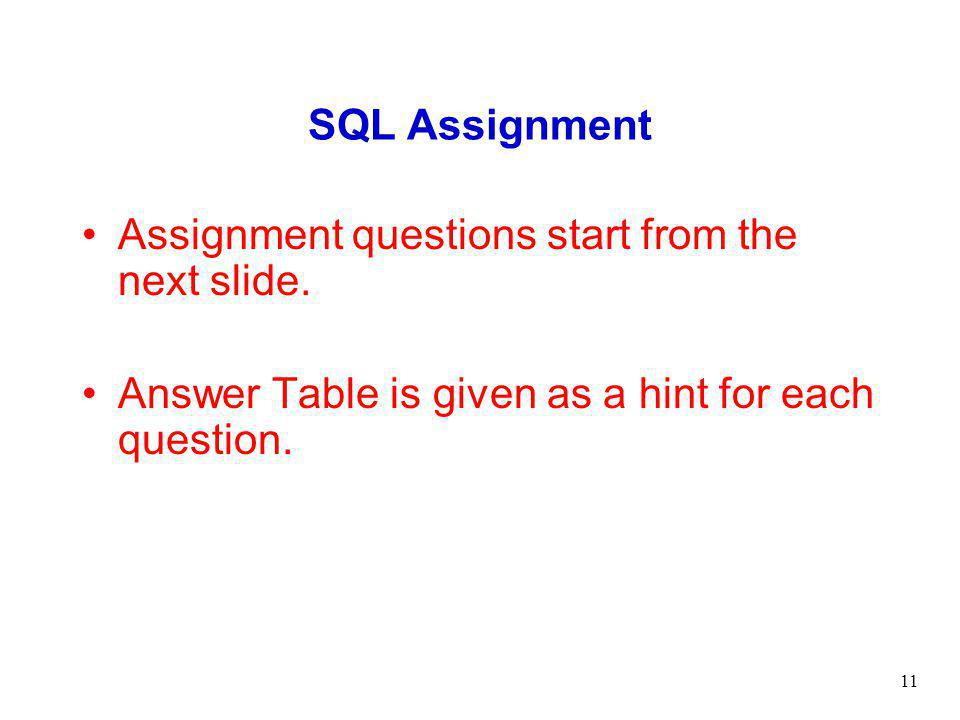 SQL Assignment Assignment questions start from the next slide.