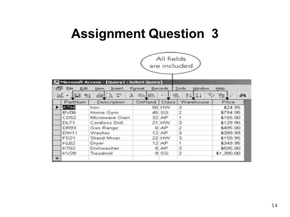 Assignment Question 3