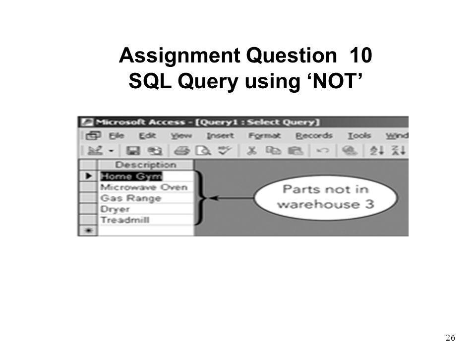 Assignment Question 10 SQL Query using 'NOT'