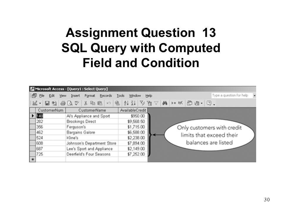 SQL Query with Computed