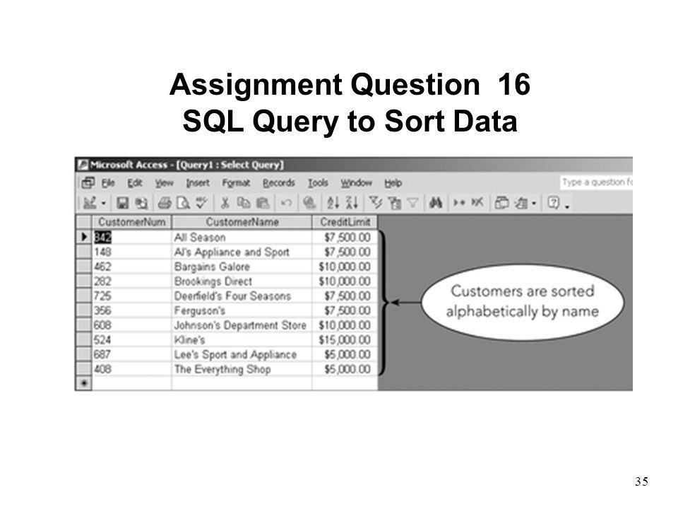 Assignment Question 16 SQL Query to Sort Data