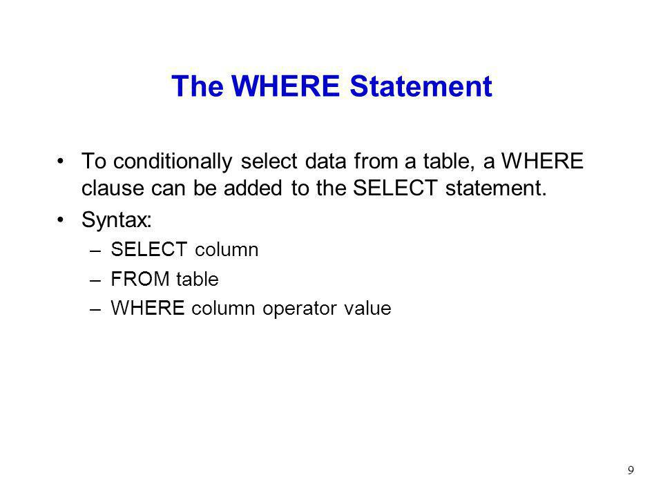 The WHERE Statement To conditionally select data from a table, a WHERE clause can be added to the SELECT statement.