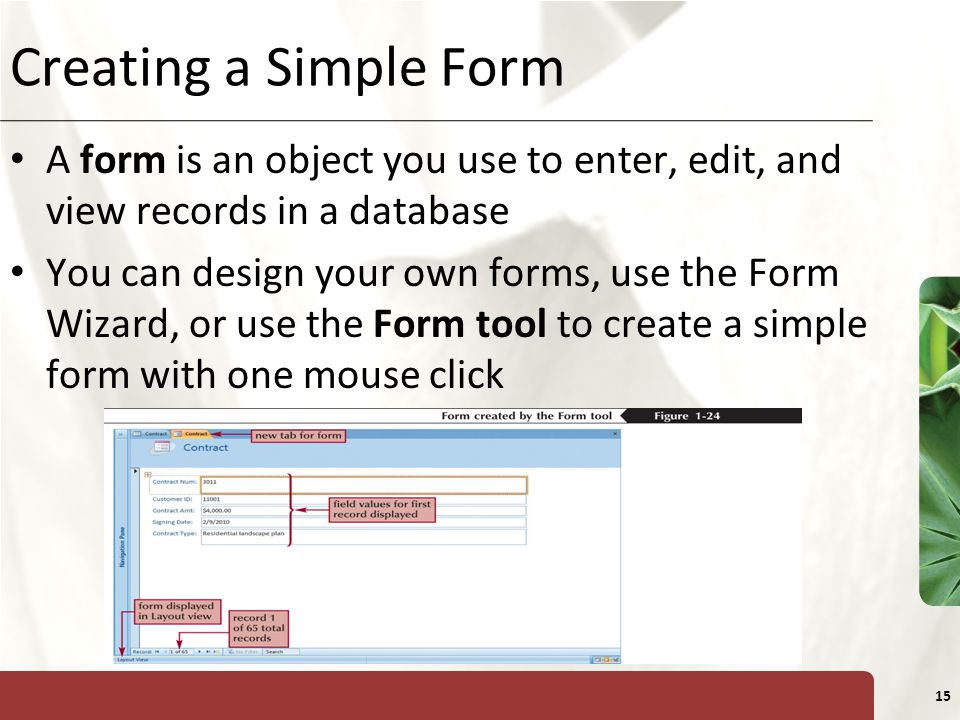 Creating a Simple Form A form is an object you use to enter, edit, and view records in a database.