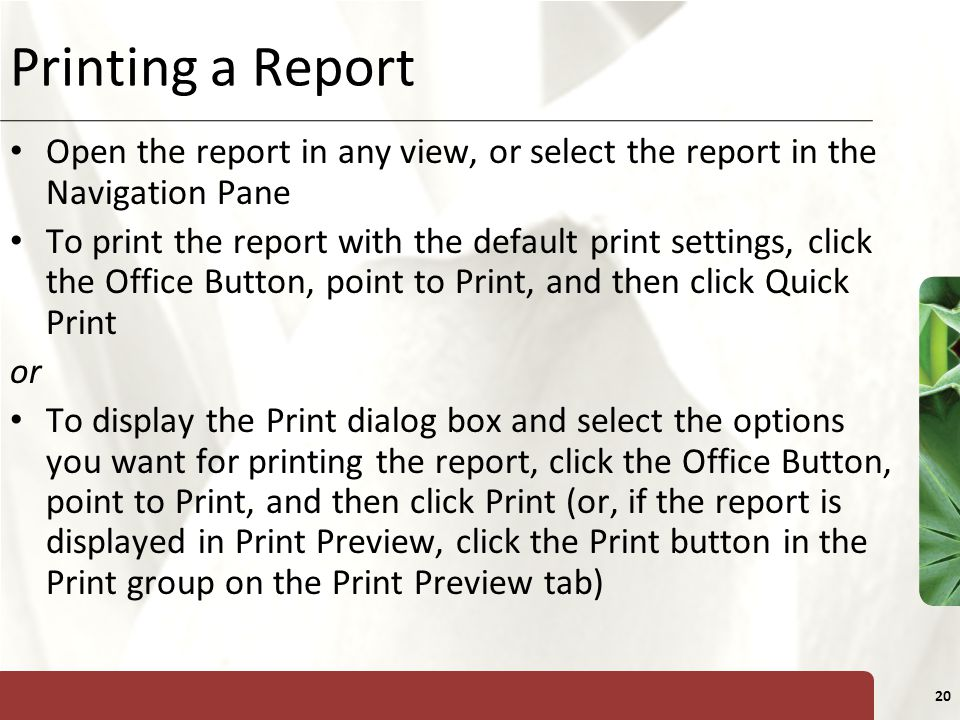 Printing a Report Open the report in any view, or select the report in the Navigation Pane.
