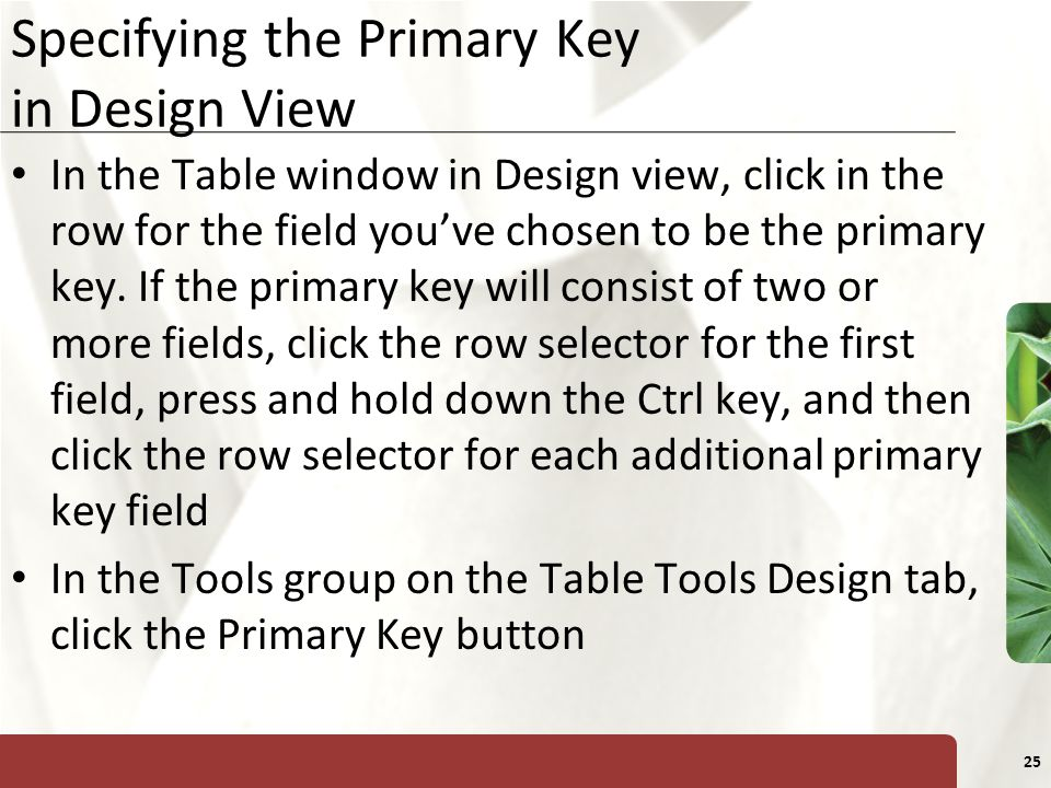Specifying the Primary Key in Design View