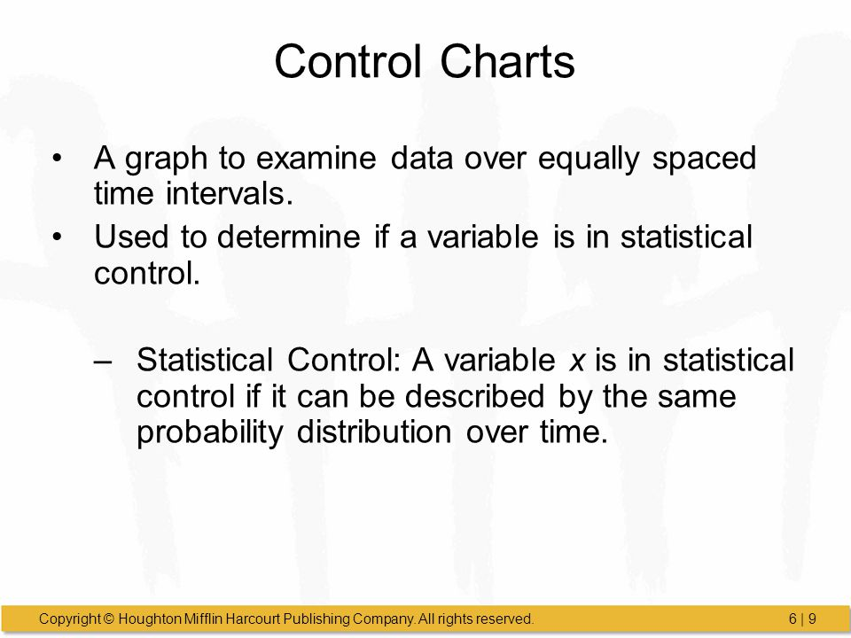 Control Charts A graph to examine data over equally spaced time intervals. Used to determine if a variable is in statistical control.