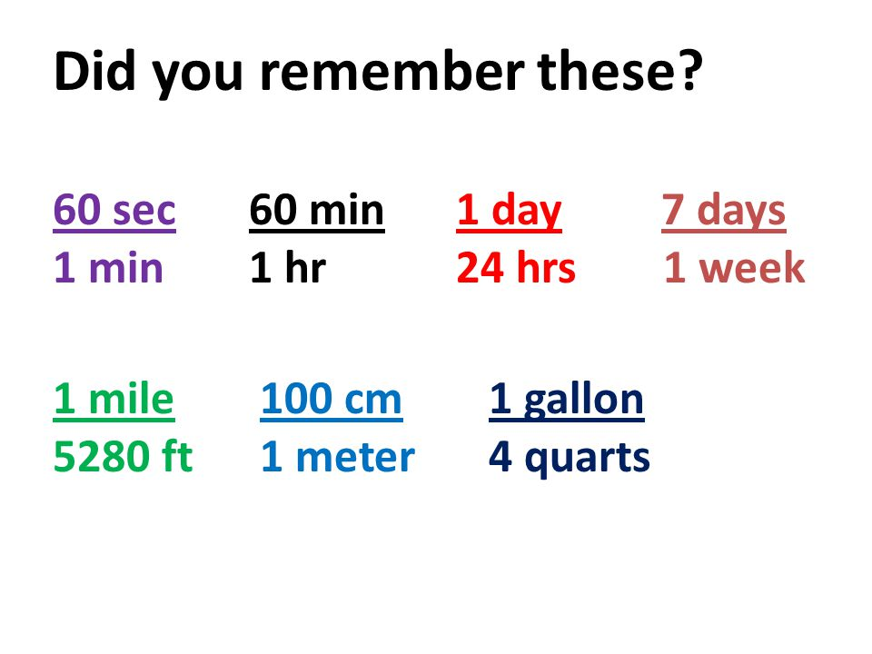 Did you remember these 60 sec 60 min 1 day 7 days