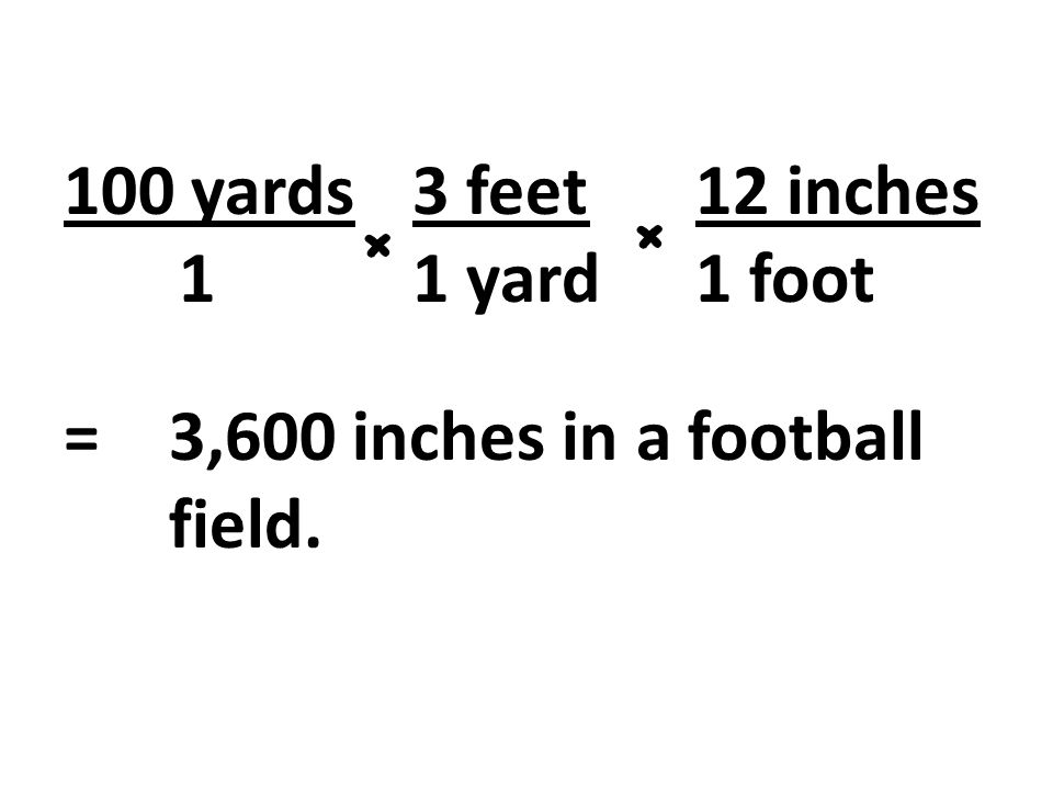 100 yards 3 feet 12 inches 1 1 yard 1 foot = 3,600 inches in a football field.