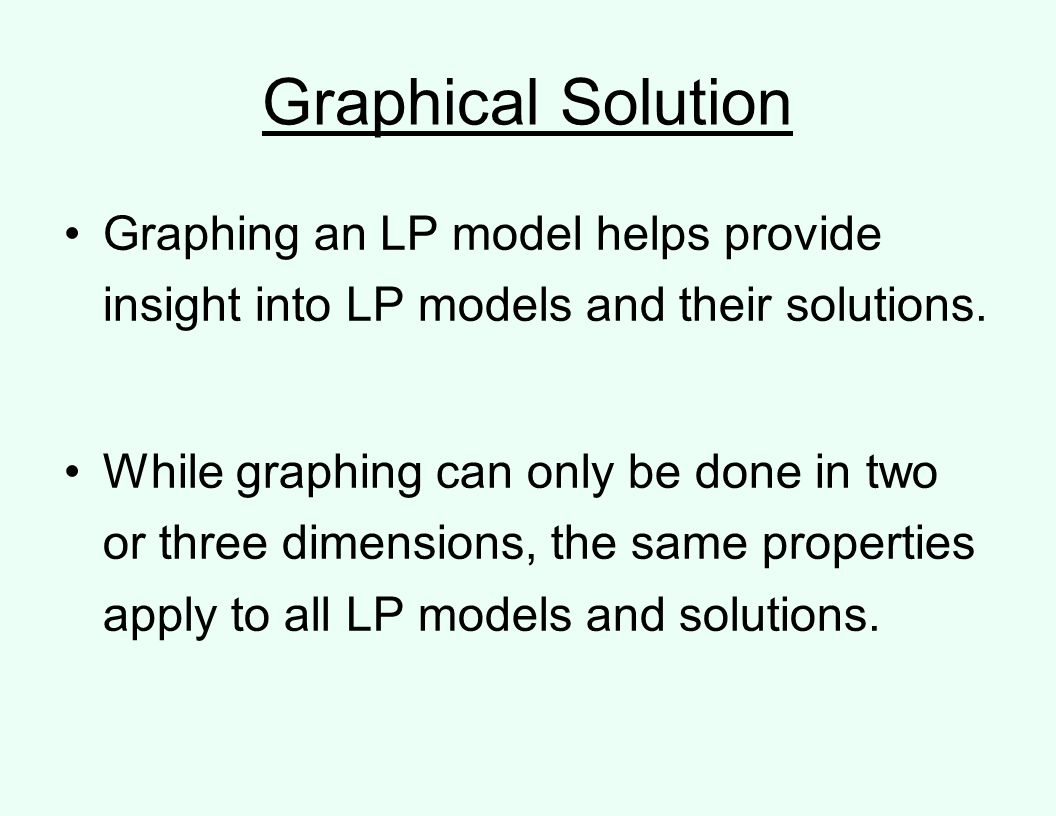 Graphical Solution Graphing an LP model helps provide insight into LP models and their solutions.