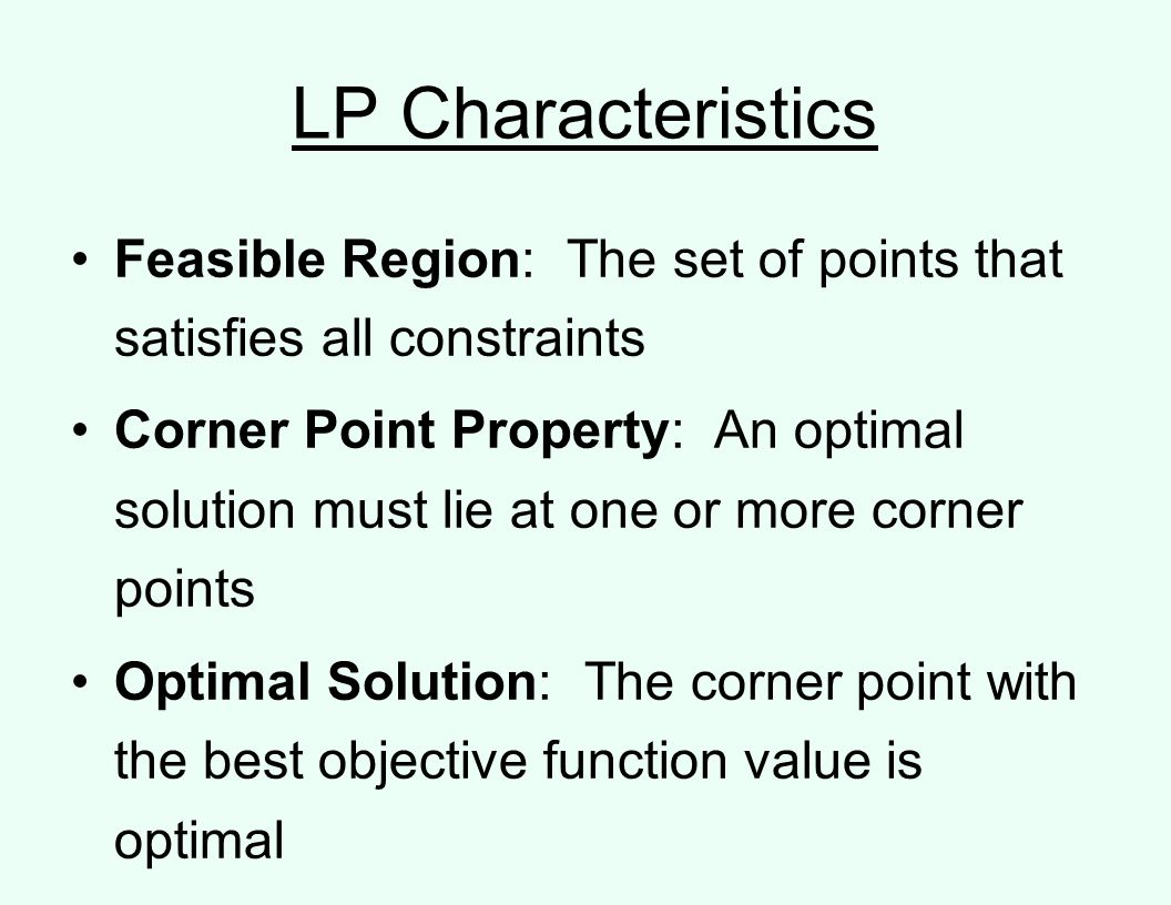 LP Characteristics Feasible Region: The set of points that satisfies all constraints.