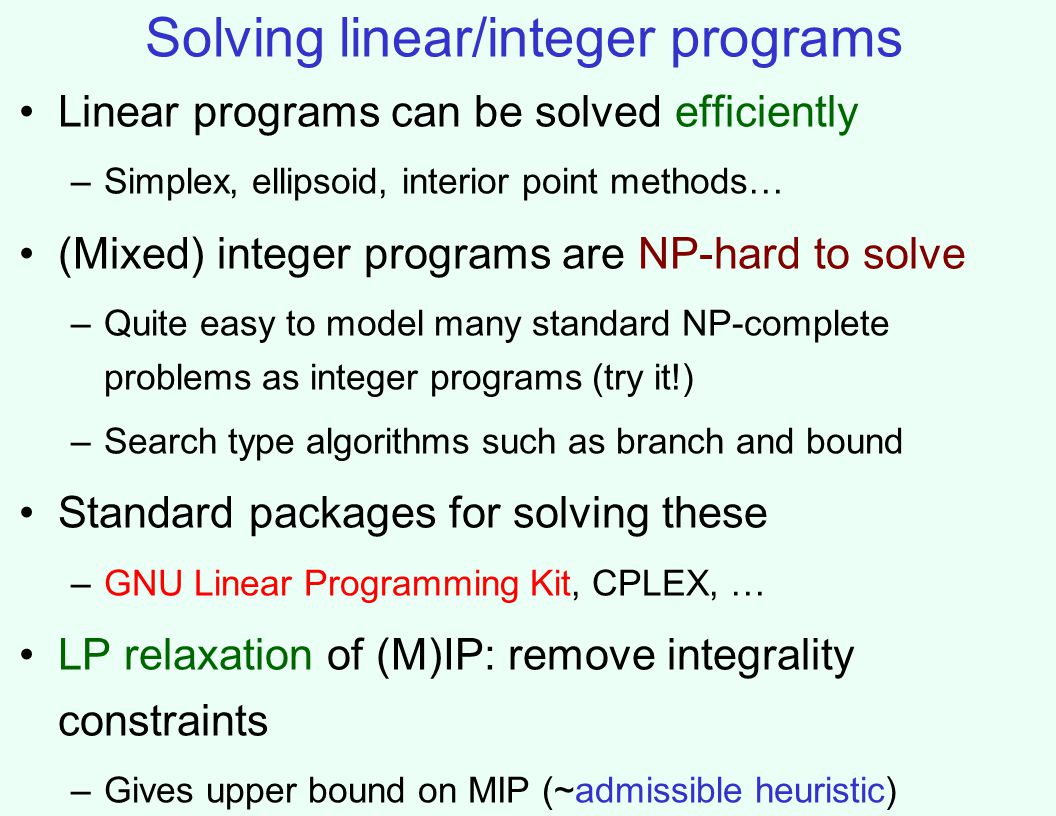 Solving linear/integer programs