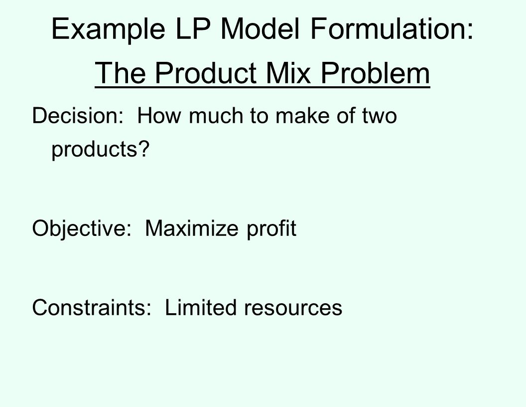 Example LP Model Formulation: The Product Mix Problem