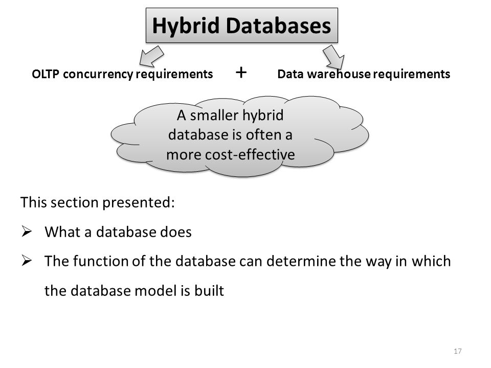 A smaller hybrid database is often a more cost-effective