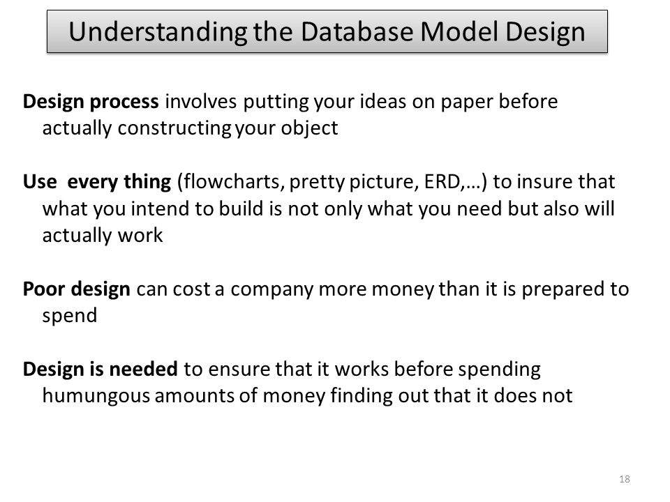Understanding the Database Model Design