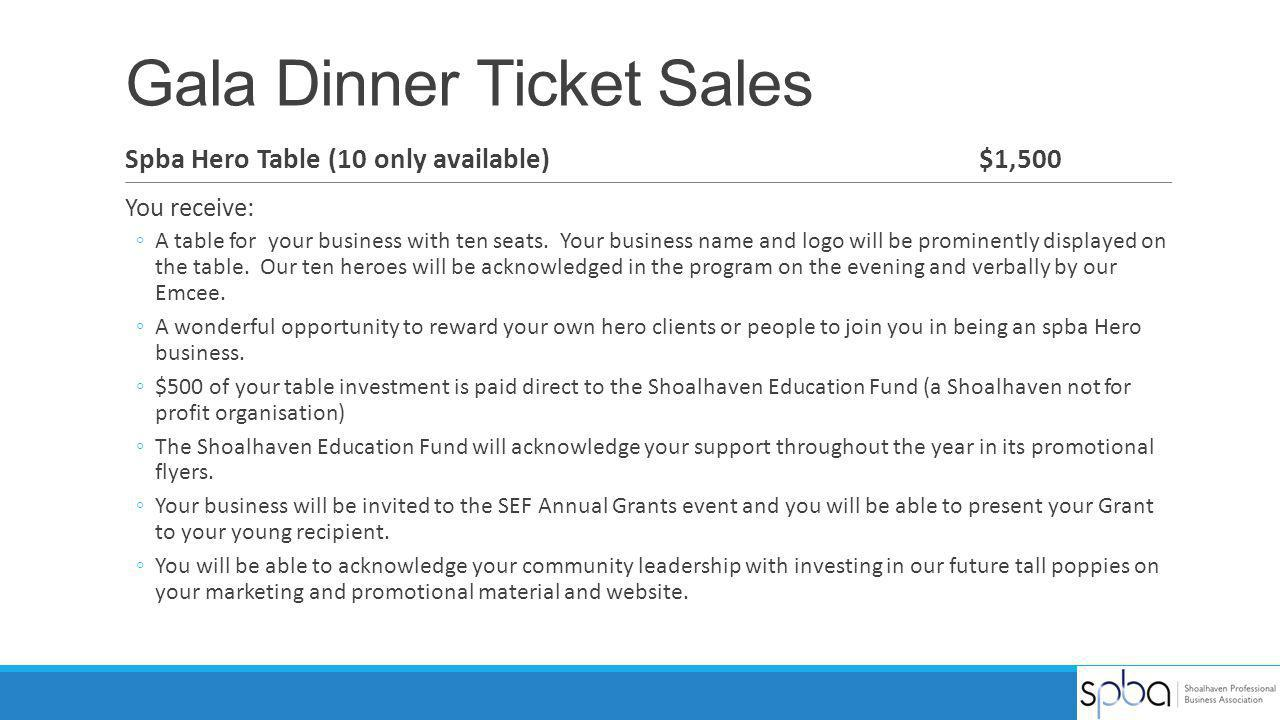 Gala Dinner Ticket Sales