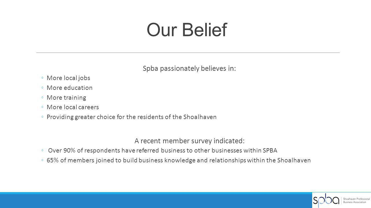 Our Belief Spba passionately believes in: