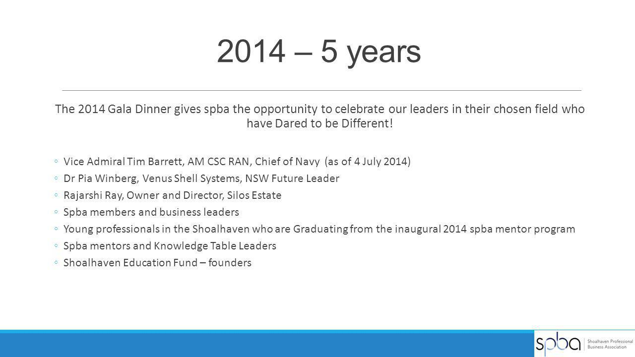 2014 – 5 years The 2014 Gala Dinner gives spba the opportunity to celebrate our leaders in their chosen field who have Dared to be Different!