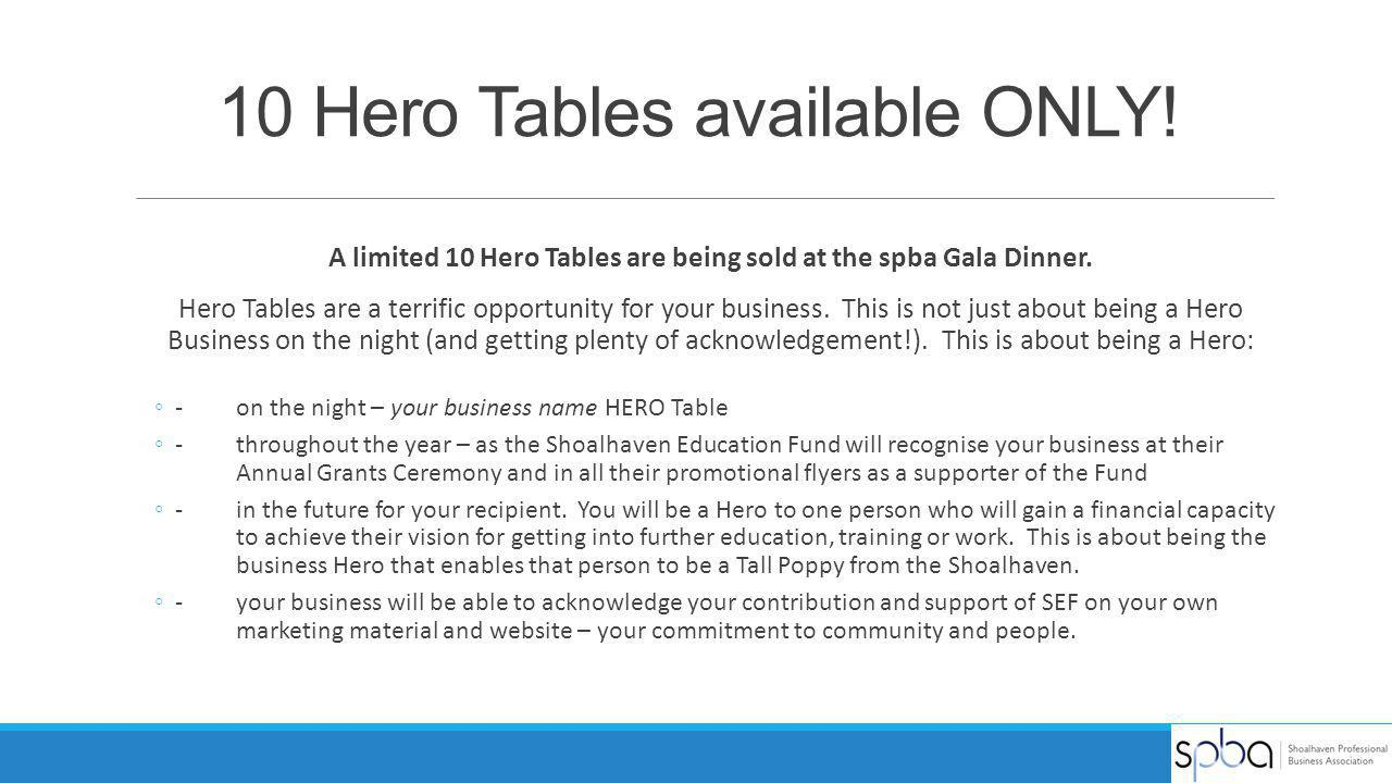 10 Hero Tables available ONLY!