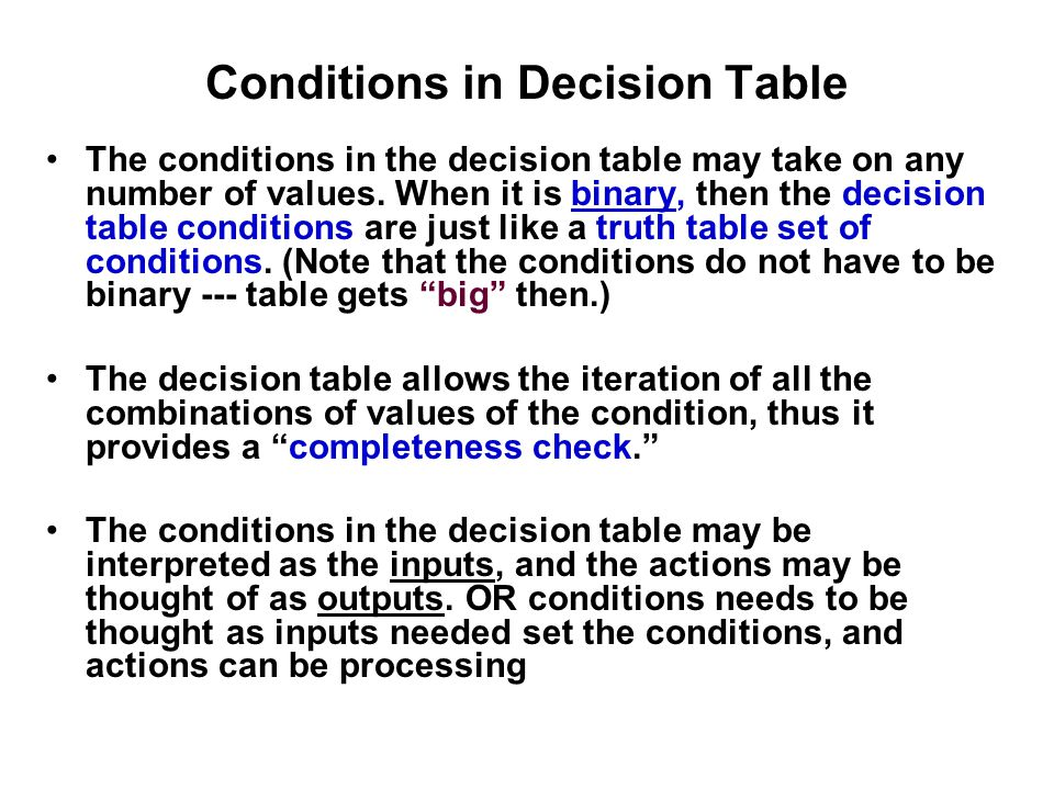 Conditions in Decision Table
