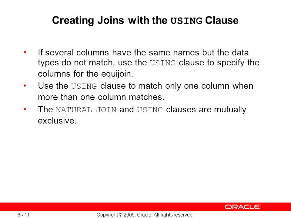 Using Clause In Natural Join