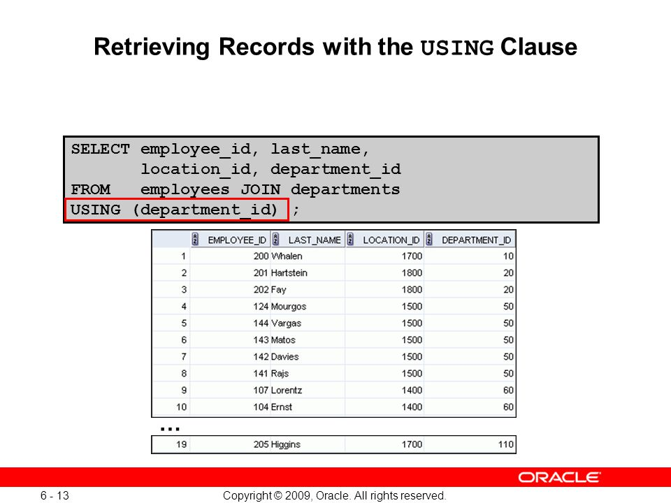Retrieving Records with the USING Clause