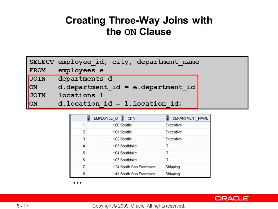 Creating Three-Way Joins with the ON Clause