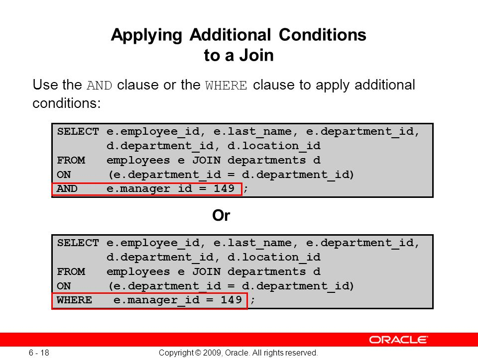Applying Additional Conditions to a Join