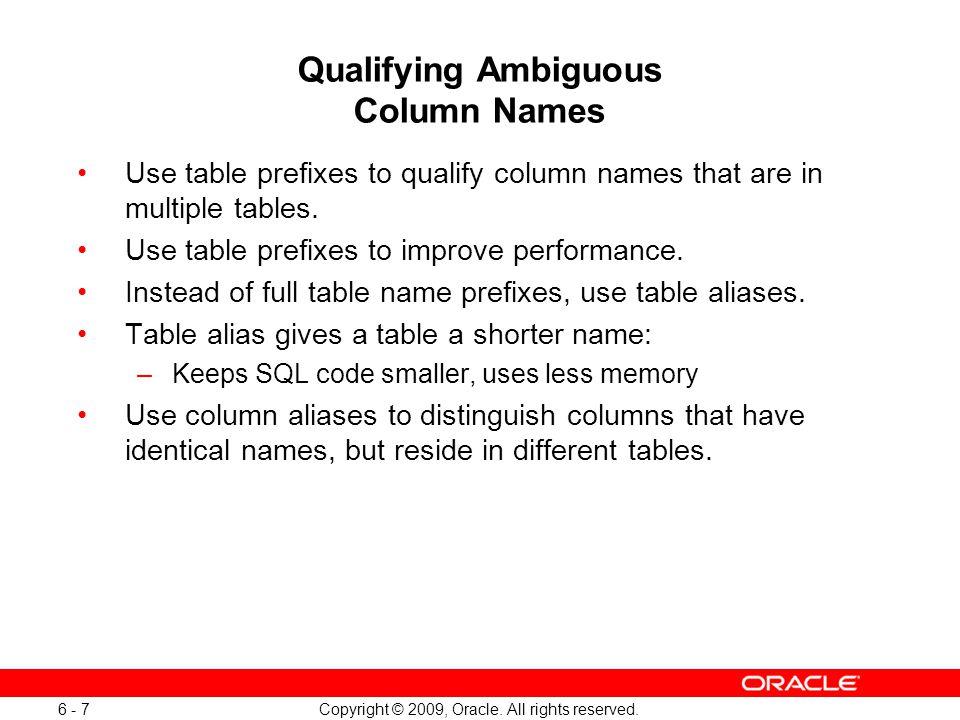 Qualifying Ambiguous Column Names