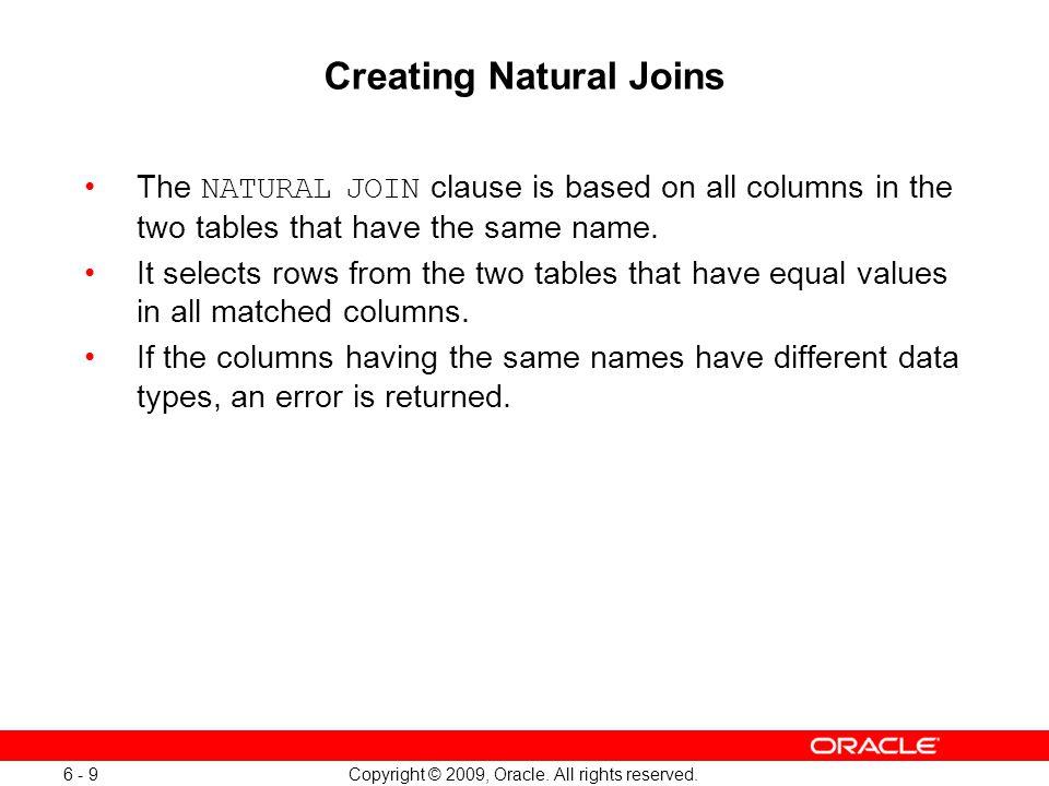 Creating Natural Joins