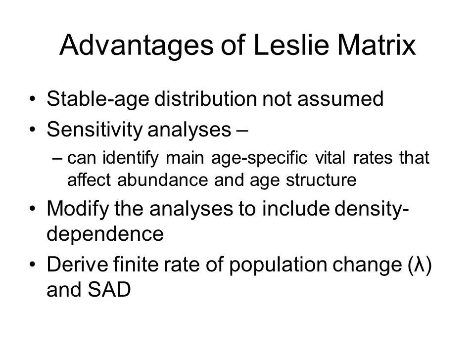 Advantages of Leslie Matrix