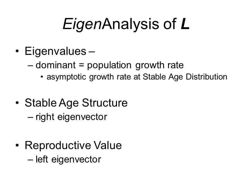 EigenAnalysis of L Eigenvalues – Stable Age Structure