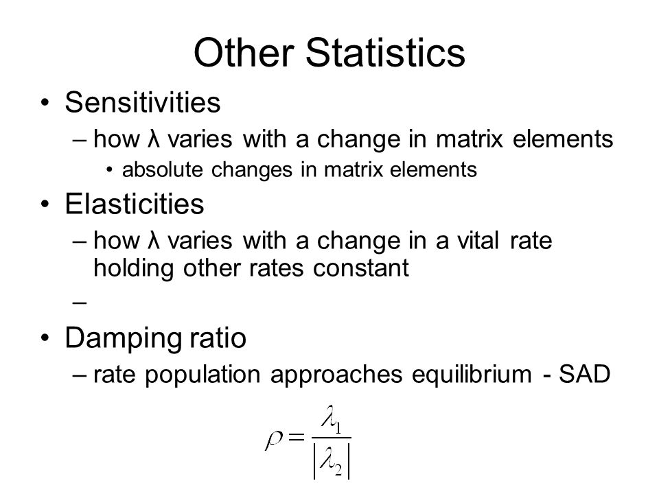 Other Statistics Sensitivities Elasticities Damping ratio