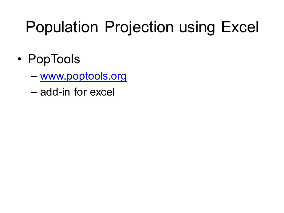 Population Projection using Excel