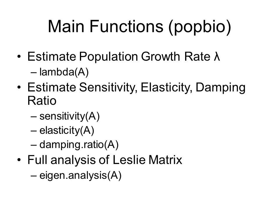 Main Functions (popbio)